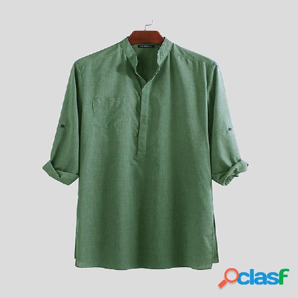 Mens linho liso cor sólida mid-long henley camisas