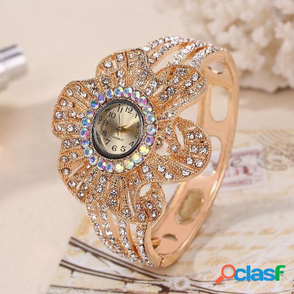 Relógio de pulseira de disco de flor geométrico grande do vintage personalidade rhinestone quartzo relógio de pulso