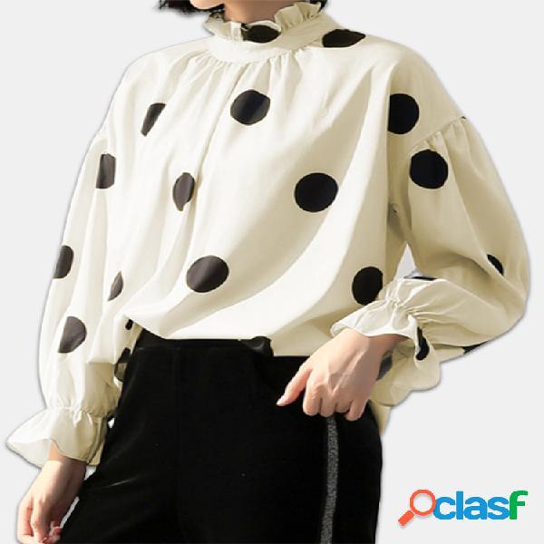 Blusa de tamanho plus tamanho bispo manga riscas de bolinhas