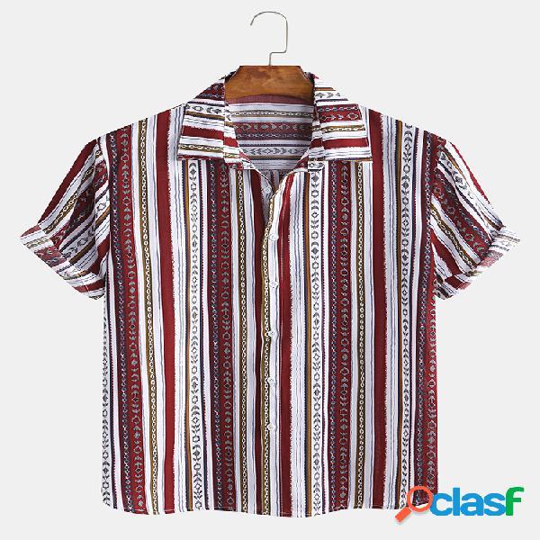 Masculino vintage étnico listrado estampa manga curta camisa