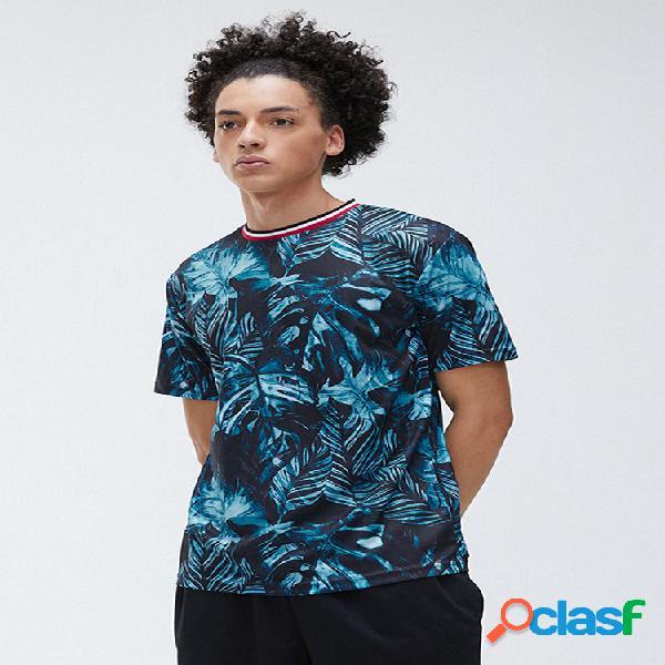 Mens tropical planta impresso manga curta gola camiseta