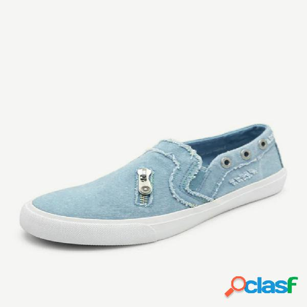 Mulheres zipper loafers denim comfy casual slip on plano shoes