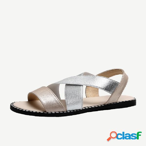 Peep toe cross strap elástico feminino banda sandálias romanas casuais