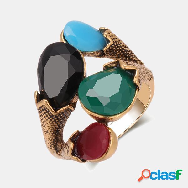 Anel de pedra preciosa de metal geométrico do vintage colorful anel oco de resina jóias boêmias