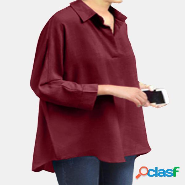 Lapela cor sólida casual blusa tamanho plus para mulheres