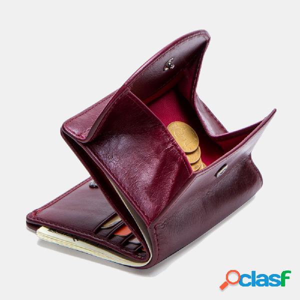 Mulheres 8 slots de cartão couro genuíno carteira de moedas