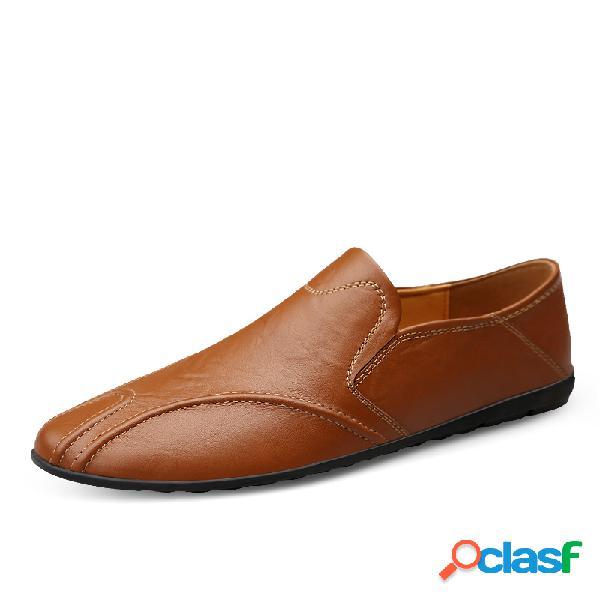 Homens de couro de vaca antiderrapante salto dobrável soft únicos sapatos de condução casuais