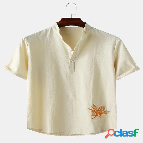 Camisas masculinas linho liso cor sólida folha bordado henley