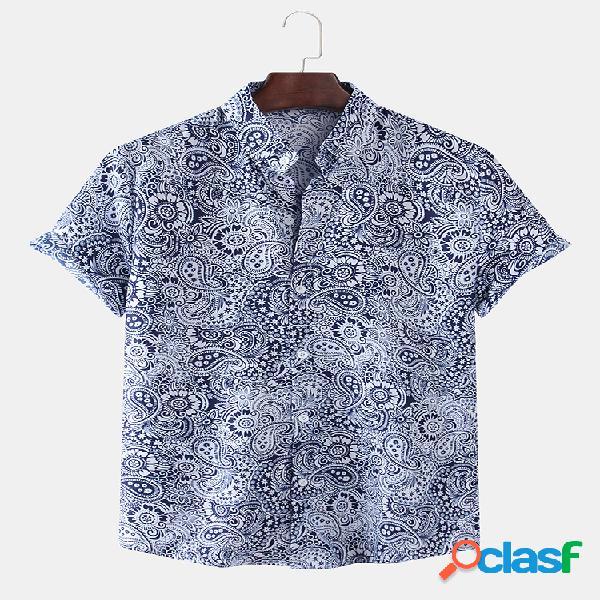 Algodão masculino étnico vintage impresso solto casual manga curta camisa
