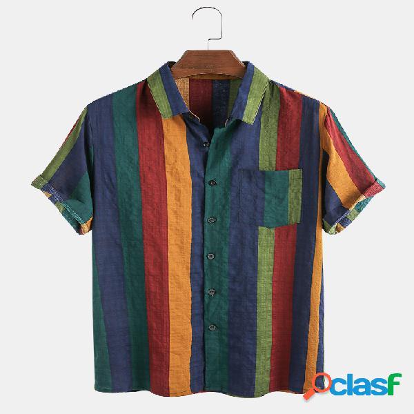 Algodão masculino fino e respirável colorful stripe férias manga curta camisa