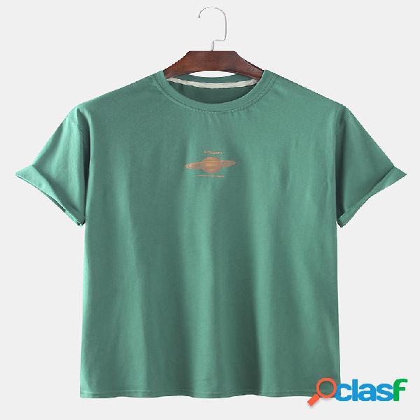 Camisetas engraçadas masculinas com estampa de estrela de júpiter com decote em o