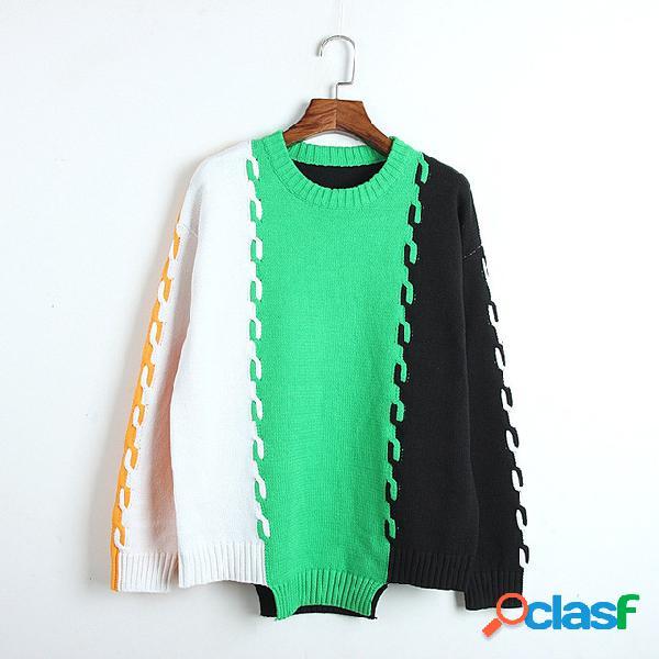 Camisola de contraste as mulheres usam conjunto de fundo irregular furacão solto de mangas compridas camisa camisola das mulheres