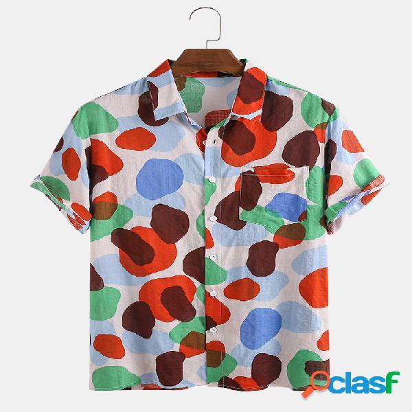 Camuflagem masculina de algodão multicolorido com bolinhas irregulares estampada manga curta camisa