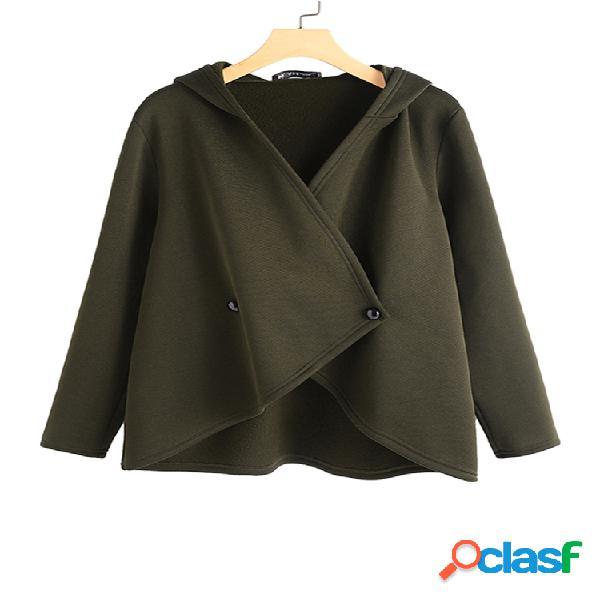 Casaco irregular de manga comprida com capuz de cor sólida irregular