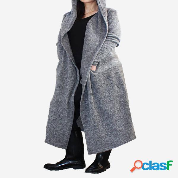 Casaco longo e fino com capuz de mistura de algodão de cor sólida plus