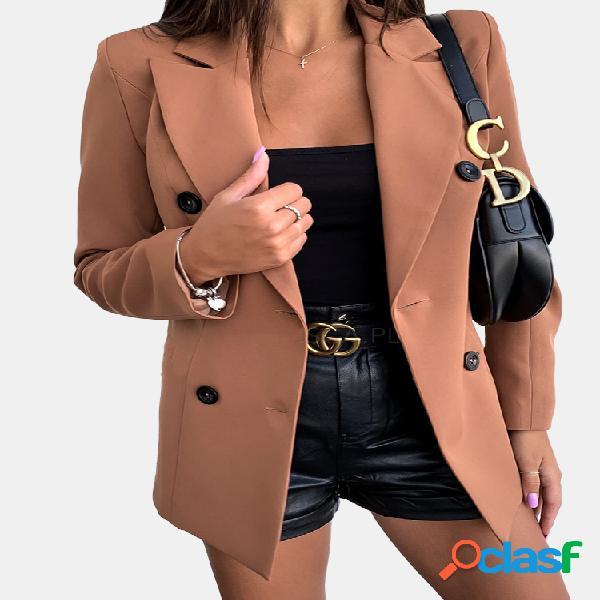 Casacos de lapela de manga comprida de cor sólida para mulheres