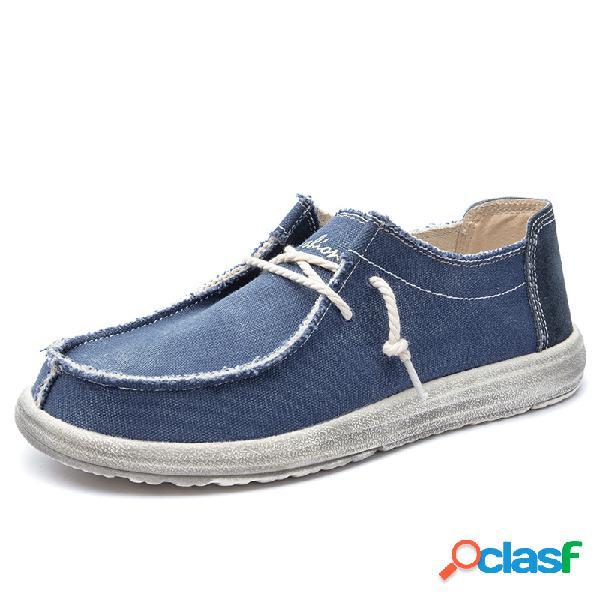 Homens classic mocassim toe lavado toe comfort soft sapatos casuais