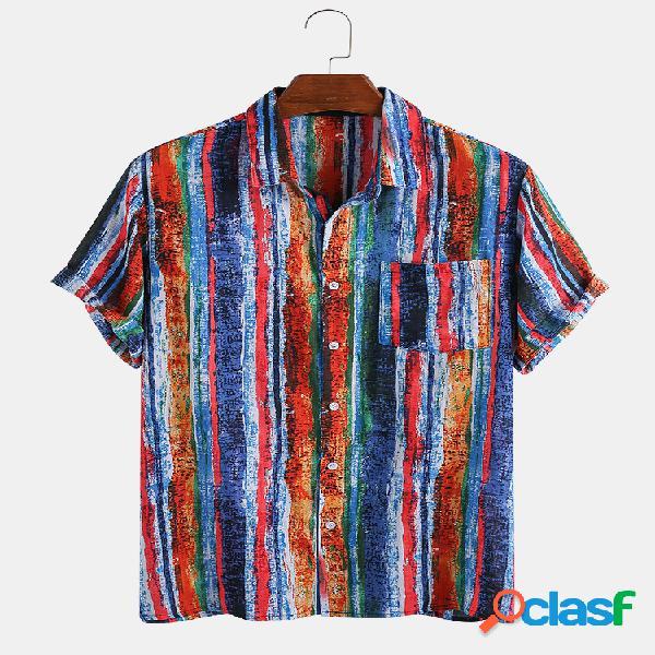Masculino 65% algodão graffiti cor listrado impresso casual solto lapela manga curta camisa