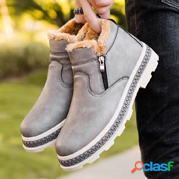 Men ziped inside comfort forro de pelúcia quente ankle boots casual