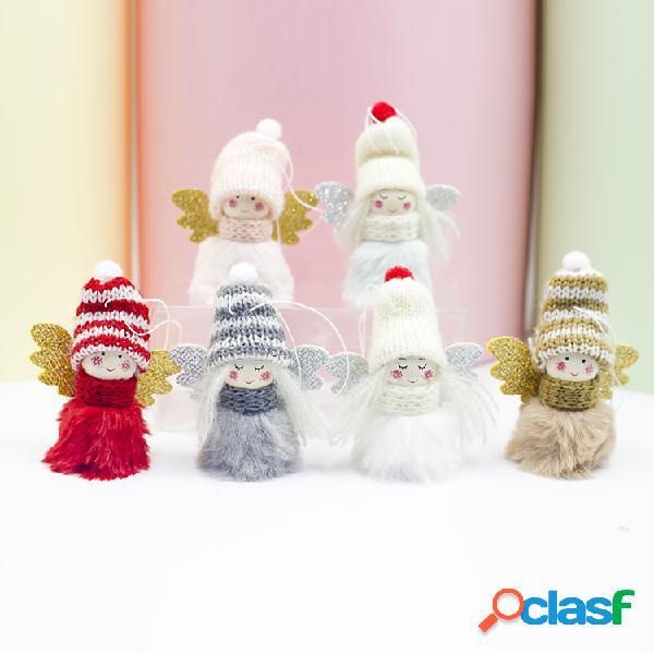 Menina de anjo de pelúcia criativa boneca pingente árvores de natal decoração natal ano novo decoração de casa
