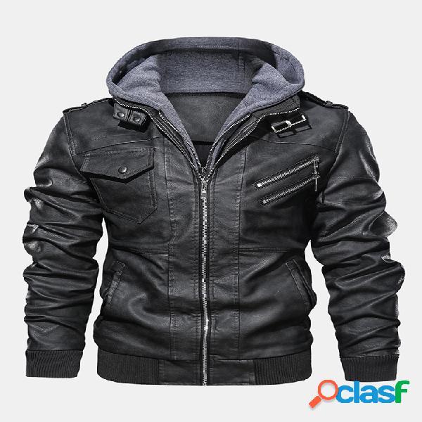 Mens inverno moda manga longa multi-zip jaqueta de couro com capuz