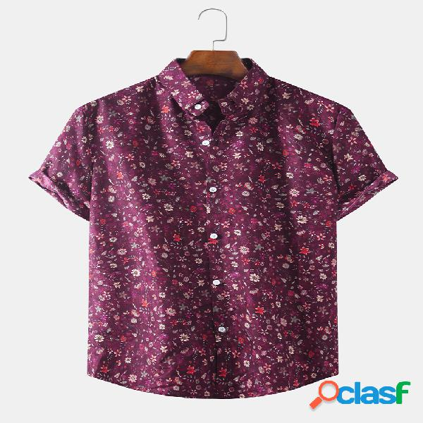 Algodão masculino cor retro lapela floral pequena casual solta manga curta camisa