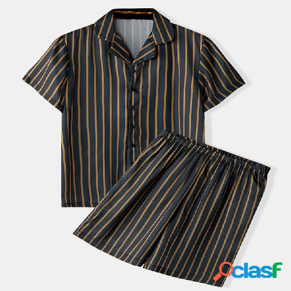 Conjunto de pijamas de seda falsa estampado de listras masculinas com duas peças finas e respiráveis roupas casuais