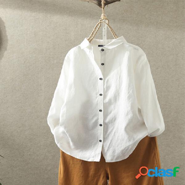 Lapela vintage cor sólida plus tamanho camisa para mulheres