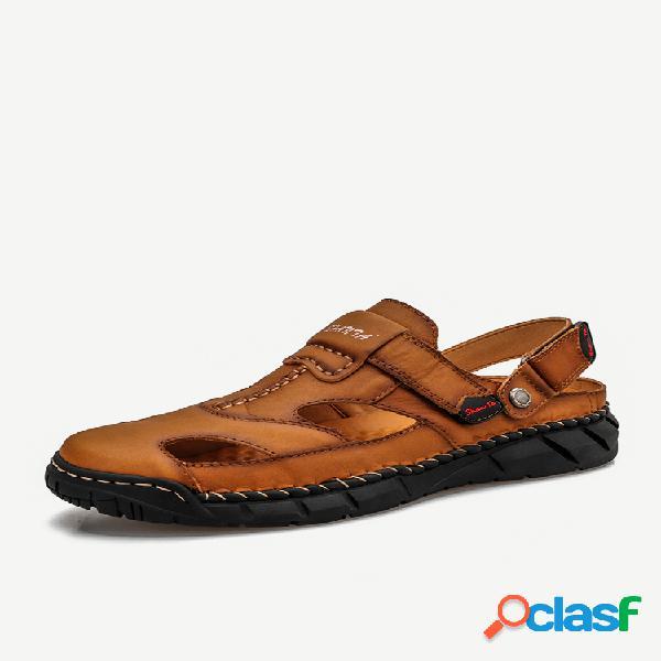 Masculino couro genuíno costura manual antiderrapante soft sandálias casuais com sola
