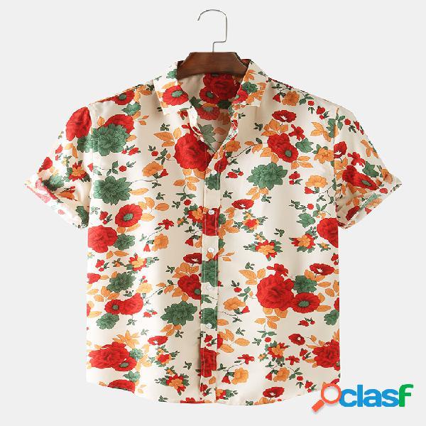 Homens de manga curta estampada floral fina e respirável camisa