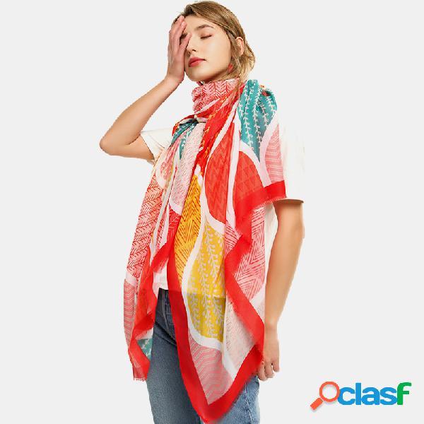 Lenço impresso lenço multifuncional feminino lenço étnico multicolor