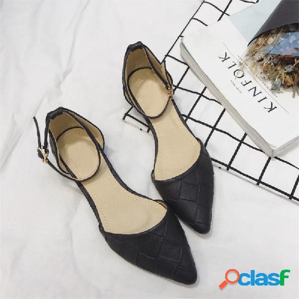 Mulheres elegantes dedo apontado cor sólida fivela chique apartamentos sapatos