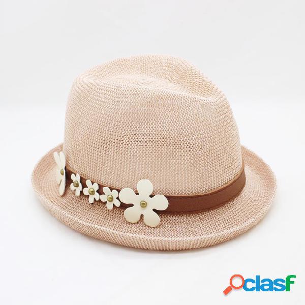 Palha ondulada de cor pura chapéu sol pequeno margarida chapéu protetor solar top de jazz chapéu