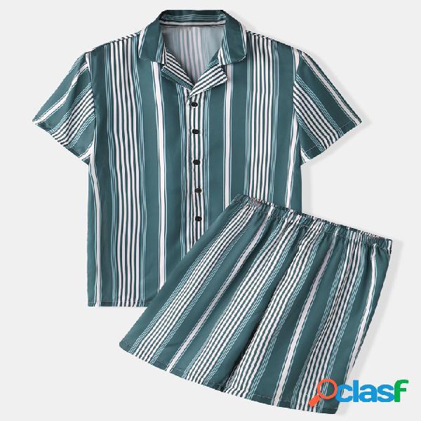 Pijama masculino com listra verde de seda falsa duas peças colarinho de lapela e coleira suave para respirar
