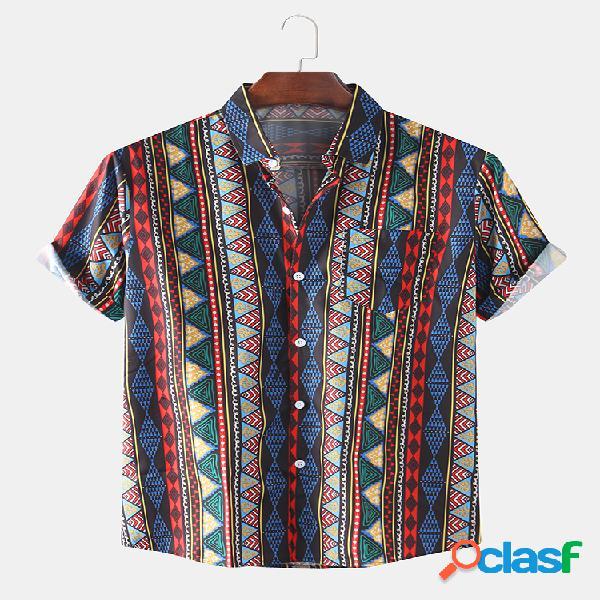 Camisas masculinas com estampa étnica e bolso de manga curta solta