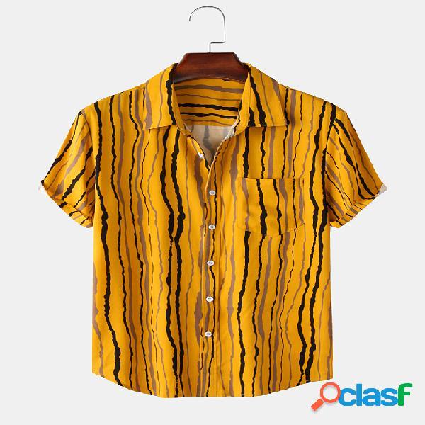 Camisas masculinas listradas com estampa de peito e manga curta solta