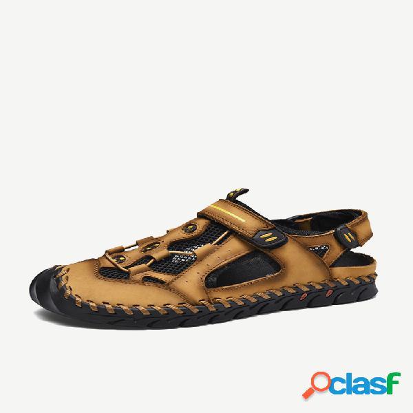 Masculino couro genuíno antiderrapante costura à mão sandálias casuais para exteriores