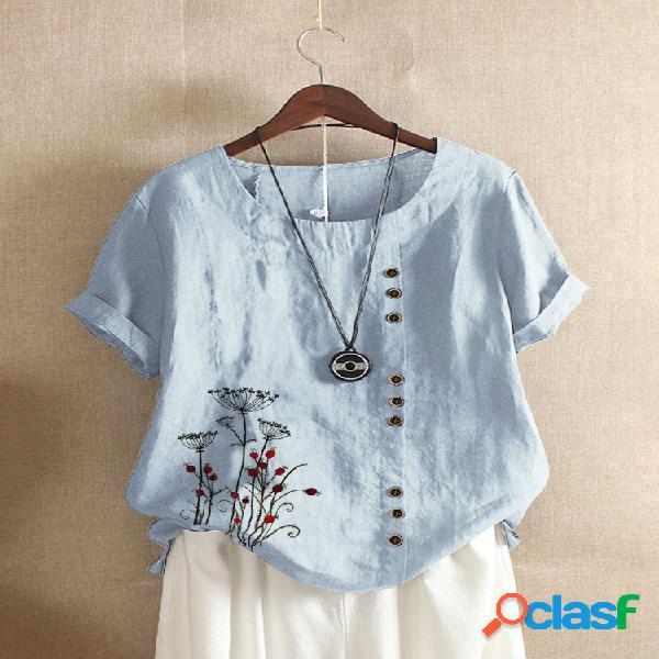 Camiseta de manga curta com bordado floral vintage