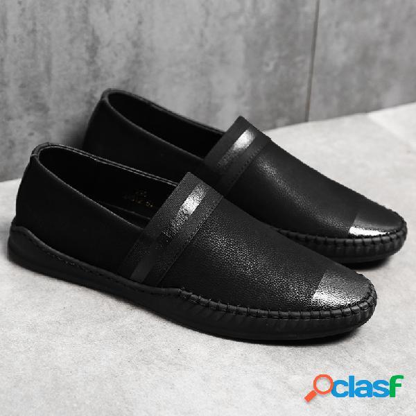 Homens pure color couro de vaca antiderrapante deslizamento em sapatos casuais