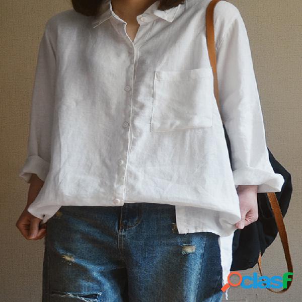 Lapela casual cor sólida plus tamanho camisa para mulheres