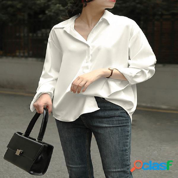 Lapela cor sólida plus tamanho casual camisa para mulheres
