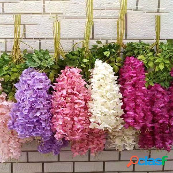 12 unidades / conjunto de 100 cm de flores artificiais de seda glicínia falsa flor suspensa de jardim planta decoração de casamento de videira