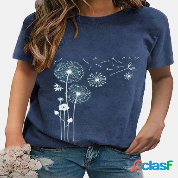Camiseta feminina de manga curta com estampa de flores e decote redondo