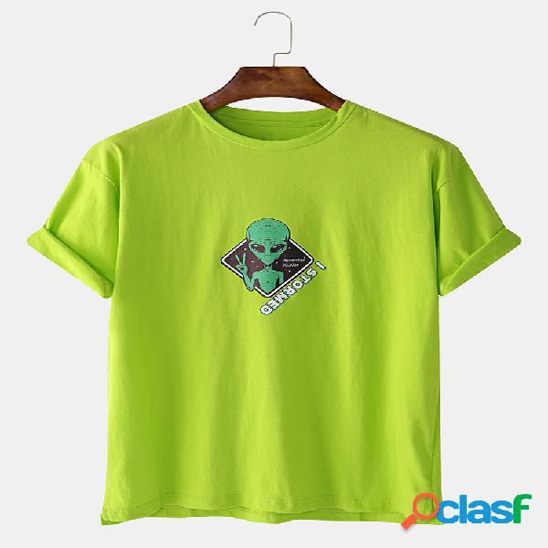 Camiseta masculina de algodão engraçado estampado estrangeiro manga curta gráfica