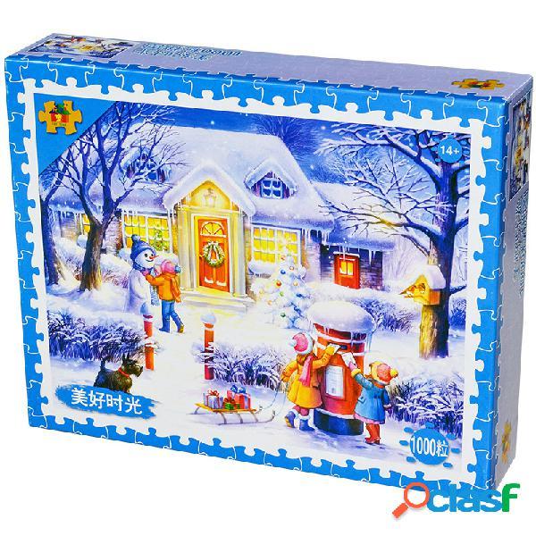 1000 pedaços de papel quebra-cabeça adulto neve quebra-cabeça brinquedo descompressão brinquedo dos desenhos animados brinquedos educativos presente