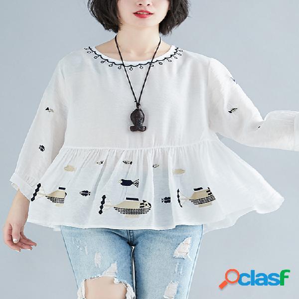 Blusa bordada de 3/4 manga o-pescoço para mulheres