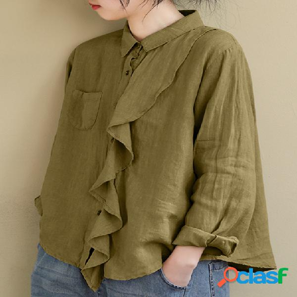 Blusa de lapela com babado cor sólida manga comprida