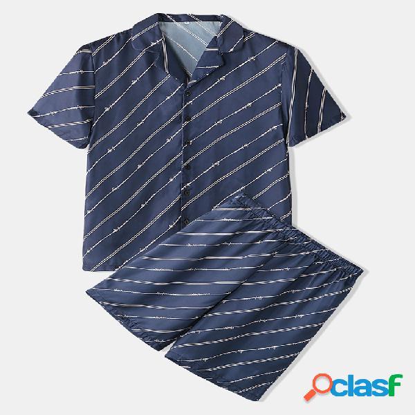 Conjunto de pijamas de listra marinha com duas peças de roupa de baixo de seda falsa estilo empresarial para homens