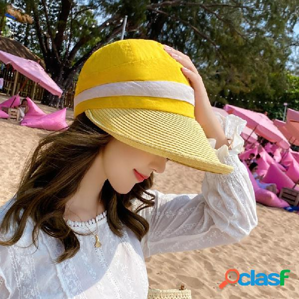 Protetor solar de verão folding top chapéu outdoor big brim sun chapéu