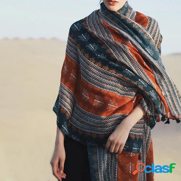 Cachecol estampa geométrica algodão e linho cachecol viagem protetor solar